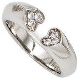 Damen Ring Herzen 925 Sterling Silber rhodiniert 6 Zirkonia Silberring Gr. 50 - 1