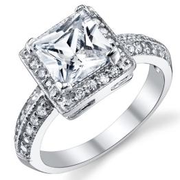 Damen Sterling Silber 925 Verlobungsring, Ehering Mit 2 Karat Prinzessin Schnitt Zirkonia Bequemlichkeit Passen,Größe 54 - 1