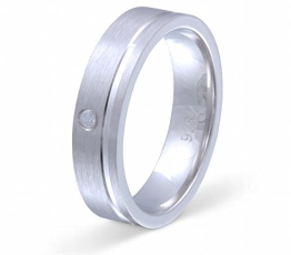 Flame Damen-Ring Trauring Antragsring Partnerring 925er Sterling Silber 1 Zirkonia weiss -gratis Gravur 52 (16.6) S-AA-D - 1