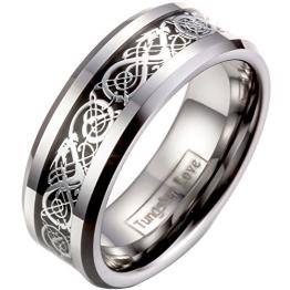 JewelryWe Schmuck Herren Wolframcarbid Ring Band Silber Schwarz Irish Celtic Knot Irischen Keltisch Knoten Drachen Jahrgang Hochzeit Größe 75 - 1