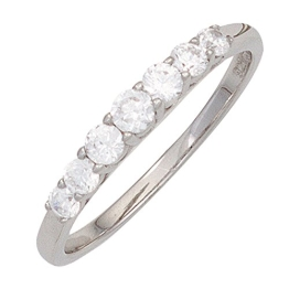 JOBO Damen Ring 925 Sterling Silber rhodiniert 7 Zirkonia Silberring Größe 60 - 1