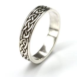 keltischer Partnerring 925 Silber Bandring Herrenring Damenring Silberring Ringschiene 5mm Gr 58 - 1