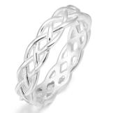 MunkiMix 925 Sterling Silber Ring Band Silber Triquetra Irisch Keltisch Knoten Dreiecksknoten Hochzeit Wedding Eheringe Lieben Größe 57 (18.1) Damen - 1