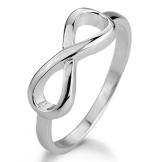 MunkiMix 925 Sterling Silber Ring Silber Infinity Unendlichkeit Zeichen Symbol 8 Ring Größe 57 (18.1) Damen - 1