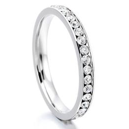 MunkiMix Edelstahl Ewigkeit Ewig Ring Band CZ Zirkon Zirkonia Weiß Hochzeit Wedding Eheringe Charm Charme Elegant Größe 60 (19.1) Damen - 1