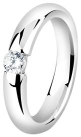Nenalina Damen Ring besetzt mit 4 mm weißem Cubic Zirkonia, handgearbeitet aus 925 Sterling Silber, 212267-019 Gr.54 - 1