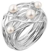 Nenalina - Perlenring aus 925 Sterling Silber handgearbeitet mit echten Süßwasser Perlen, Gr. 60 - 721058-042-60 - 1