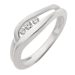 Schmuck-Pur 925/- Sterling-Silber Damen-Ring mit 3 funkelnden klaren Zirkonia (Größe 19) - 1