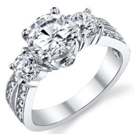 Ultimate Metals Co. Past, Present, Future Ring Sterling-Silber 925 1,5ct Zirkonia in Rundschliff - 1