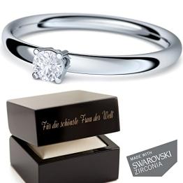 Valentinstag Geschenke für Frauen! * Verlobungsringe mit SWAROVSKI Stein * + LUXUSETUI mit Gravur! Silberring Ring Silber 925 Geschenkidee Geschenke Freundin Ehefrau für Sie - AM161-22 SS925ZIFA48 - 1