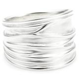 Vinani Damen-Ring breit Struktur sandgestrahlt glänzend Sterling Silber 925 Größe 58 (18.5 ) RBM58 - 1