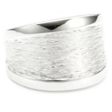 Vinani Damen-Ring glänzend Muster gebürstet Sterling Silber 925 Größe 52 (16.6 ) RMG52 - 1